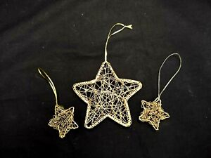 SET OF 3 GOLD TONE WIRE STARS CHRISTMAS TREE ORNAMENTS 2 SIZES GLITTER