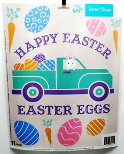 EASTER Reusable Window Clings - PICK UP TRUCK With Eggs Words Carrots