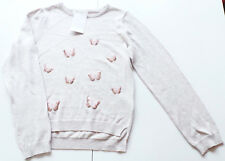 Strick Pullover Gr.122 /128 H&M NEU 100% Baumwolle beige Schmetterlinge Kinder