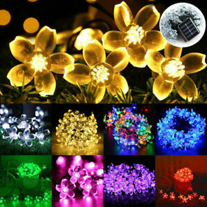 Flower Fairy Lights String 50 LED Solar Power Flower Garden Wedding Decoration