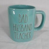Rae Dunn by Magenta DAD HUSBAND TEACHER Coffee Mug Ceramic Turquoise LL New