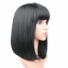 Fashion Lady Girl's Short Bob Straight Full Bangs Wigs Shawl Hair Wig Black US