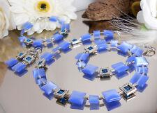 Zilar 3er Schmuck SET - Cateye Katzenauge Quadrate in blau - Kette Armband Ohrr.