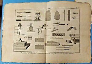 1784 Estampe Eau Forte Menuisier Treillageur construction ornements de Treillage