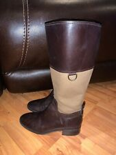 womens ETIENNE AIGNER BROWN LEATHER AND CANVAS RIDING BOOTS SIZE 7 M