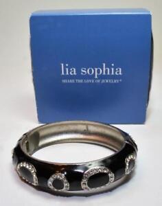 "New Box LIA SOPHIA Silvertone Black Enamel Rhinestones 2 1/2""d Bangle Bracelet"