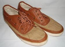 Polo Ralph Lauren Parkstone Low Brown Leather Tan Canvas Duck Boat Shoes 9