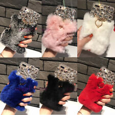 Luxury Bling Diamond Crystal Rabbit Fur Ring Stand Case Cover for LG Stylo 4 / 3