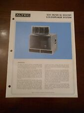 ORIGINAL ALTEC DEALER 1235 MUSICAL SOUND LOUDSPEAKER SYSTEM SPECIFICATION SHEET