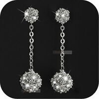 18k white gold gp made with SWAROVSKI crystal ball stud dangle drop earrings