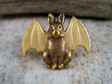 Handmade Steampunk Bunny With Bat Wings Brooch
