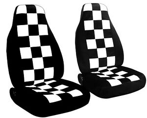2 Front Black and White Checkered Seat Covers Mini Cooper 2003-2006