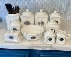 THL French Country Kitchen Canister Set - BEADED White Ceramic w/ Silver Label