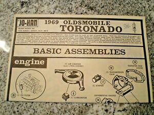 "JO-HAN ""1969 Oldmobile Toronado "" Original Model Car Instruction sheet"