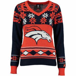 Denver Broncos Women's Navy Big Logo V-Neck UGLY Christmas Sweater NEW