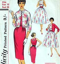 "SIMPLE Vintage 50s DRESS & JACKET Sewing Pattern Bust 36"" Size 12 EVENING Pin-up"