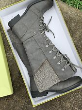 SALE @ PATRIZIA by SPRING STEP Lined Silver Gray Knee High Boots Shoe 9 ❤️sj17j5