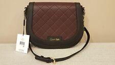 NWT Calvin Klein Key Items Leather Saddle Crossbody Black Rum Raisin Bag $158