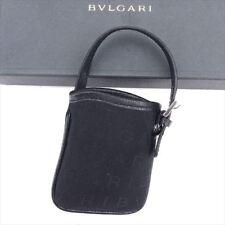 Bvlgari Bag charm Logo Mania Black Woman unisex Authentic Used T6602