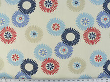 Drapery Upholstery Fabric Water Repellent Cotton Abstract Floral Blues on White