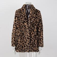 Leopard Jacket Women faux Fur Top Warm Casual Winter Cardigan Long Sleeve Coat
