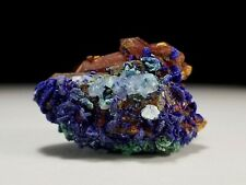 Royal Blue Azurite Crystals on Red Hematite Coated DT Quartz with Calcite #14