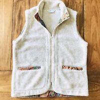 Orvis Womens Size Medium Wool Blend Full Zip Cream/Floral Accent Vest EUC