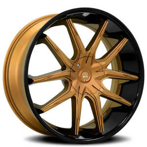 "(4) 24"" Lexani Wheels R-Twelve Bronze Center Cap with Black Lip Rims(B42)"