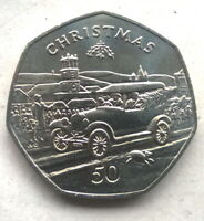 Isle of Man 1983 Christmas Ford-T 50 Pence Coin,UNC
