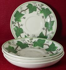 WEDGWOOD china NAPOLEON IVY GREEN AL4751 pattern SAUCER for BUTE CUP set of FOUR