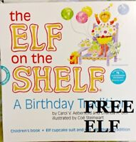 The Elf On The Shelf A Birthday Tradition Book and Elf Suit WITH FREE PLUSH ELF