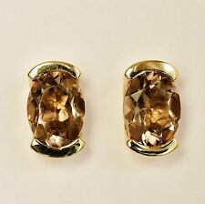 SMOKY QUARTZ EARRINGS GOOD COLOUR QUARTZ GENUINE 9K 375 GOLD STUDS NEW