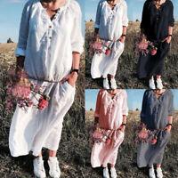 ZANZEA Women Buttons V Neck Casual Long Shirt Dress Oversize Plain Midi Dress