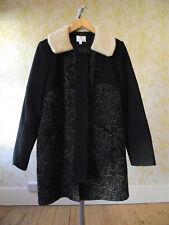 ANTONI & ALISON black wool blend coat, detachable faux sheepskin collar UK16 XL