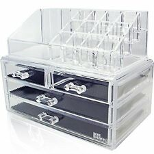 2 PC Deluxe 3-Tier 4 Drawer Cosmetic and Jewelry Chest Acrylic Organizer NEW H9