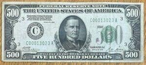 *GOLD $500 HUNDRED DOLLAR FEDERAL RESERVE *GOLD NOTE 1928 BILL*PHILADELPHIA BANK