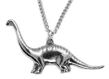 Small Diplodocus Dinosaur Pendant with Chain and organza pouch