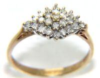 LADIES WOMENS 9CT 9CARAT YELLOW AND WHITE GOLD DIAMOND RING  SIZE N 2.2GRAMS