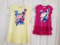 DKNY NWT Dress Tiered 2 2T 3 3T 4 5 6 6X 8 10 12 14 16 Yellow Pink Ruffle