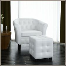 White Armchair & Stool Set Relax Chair Lounge Sofa Seat LUXURY Vintage Footrest