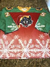 Chicago Wolves Authentic Game Used Christmas Hockey #25 Jersey RARE