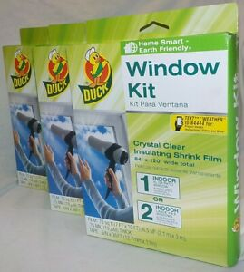 "NEW 3 Lot Duck WINDOW KIT 84"" x 120"" Clear Insulating Shrink Film"