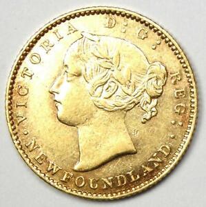 1870 Canada Newfoundland Victoria Gold $2 Coin - Choice AU / UNC MS - Rare Coin!