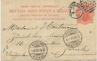 """2427 1892 QV 1d orangered ps LONDON Duplex """"SYDENHAM-S.E. / 25"""" LATEST USAGE"""