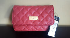 NWT BCBG Paris Red Quilt Chain Strap Small Crossbody Clutch Handbag Purse