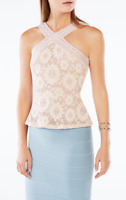 BCBG MAX AZRIA Annica Crochet Lace Peplum Top XS
