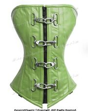 Heavy Duty 24 Double Steel Boned Waist Training Leather Overbust Corset #9042-LE