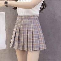 Women College Style High Waist Mini Short Plaid Pattern Tennis Pleated Skirts A