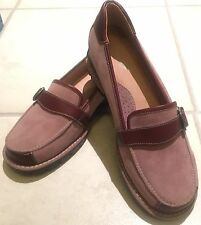 🍀Lds Sz 8.5 MG Luxury Comfort Mauve Suede leather Chunky Slip On Casual Loafer