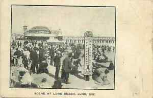 Postcard LA Times Thermometer on Long Beach, California in June of 1907